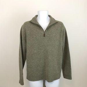 J Crew Lambswool 1/4 Zip Mock Neck Sweater L